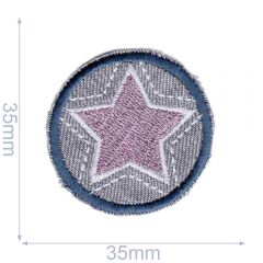 Iron-on patches Button star grey-pink - 5pcs