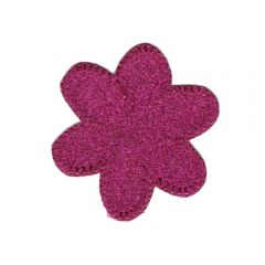 Iron-on patches flower glitter pink - 5pcs
