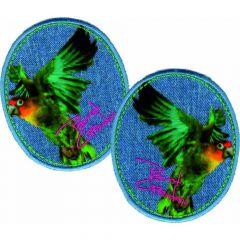 Iron-on patches Jeans Parrot Garden - 5 sets