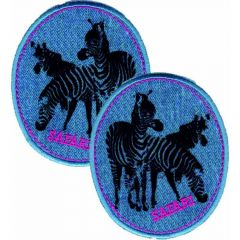 Iron-on patches Jeans Zebra pink set 2 pcs - 5 sets