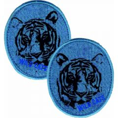 Iron-on patches Jeans Tiger set 2 pcs - 5 sets