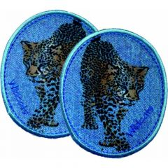 Iron-on patches Jeans Leopards set 2 pcs - 5 sets