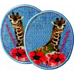 Iron-on patches Jeans Giraffes set 2 pcs - 5 sets