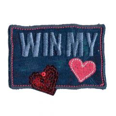 Iron-on patches Win my heart large - 5pcs