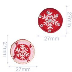 Iron-on patches Set Snow flake red-pink 2 pcs - 5 sets