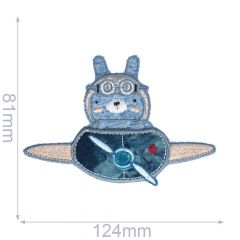 Iron-on patches hare in Airplane - 5pcs