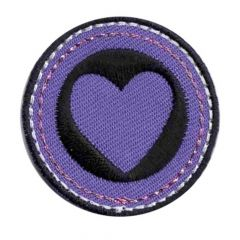 Iron-on patches heart purple-black - 5pcs