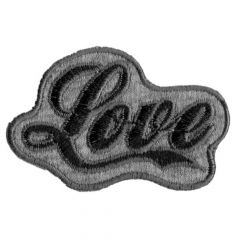 Iron-on patches Love black-grey - 5pcs