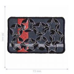 HKM Iron-on patch stars on rectangle 56x72mm - 5pcs