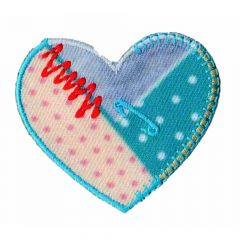 Iron-on patches heart turquoise dots - 5pcs