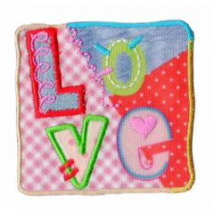 Iron-on patches square Love - 5pcs