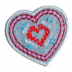 Iron-on patch heart small denim - 5pcs