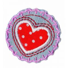 Iron-on patches Button with heart red and white dots - 5pcs