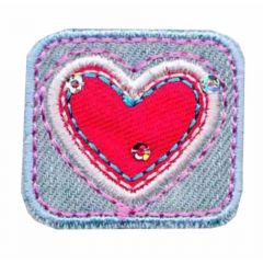 Iron-on patches Rectangle with red heart - 5pcs