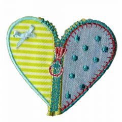 Iron-on patch heart with zipper - 5pcs
