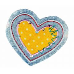 Iron-on patches heart jeans yellow-lilac - 5pcs