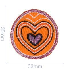 Iron-on patch button with heart denim - 5pcs