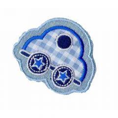 Iron-on patch car checked - 5pcs