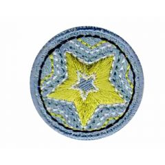 Iron-on patches Button star yellow - 5pcs