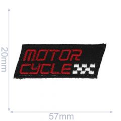 Iron-on patches Motorcycle small black/grey - 5pcs