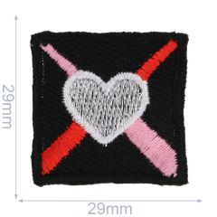 Iron-on patches heart in square - 5pcs
