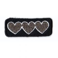 Iron-on patches Three hearts - 5pcs