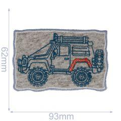 HKM Iron-on patch jeep 95x60mm grey-blue - 5pcs