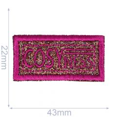 Iron-on patches Cosyness glitter in pink/black/bronze/ - 5pcs