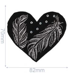Iron-on patches heart black with silver/bronze feathers - 5pcs