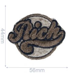 Iron-on patches RICH button grey/yellow - 5pcs