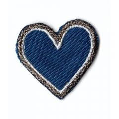 Iron-on patches heart blue small - 5pcs