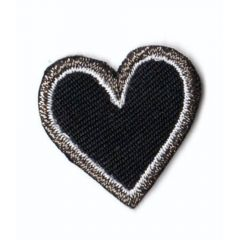 Iron-on patches heart black small - 5pcs