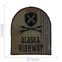 HKM Iron-on patch Alaska highway 67x80mm - 5pcs