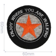 HKM Iron-on patch enjoy where you are walking 60x60mm - 5pcs