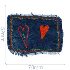 Iron-on patches hearts on jeans - 5pcs