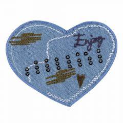 Iron-on patches heart ENJOY jeans - 5pcs
