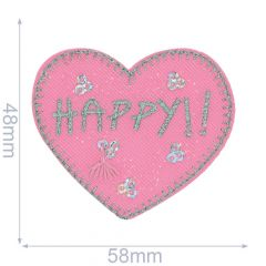 Iron-on patches heart HAPPY - 5pcs