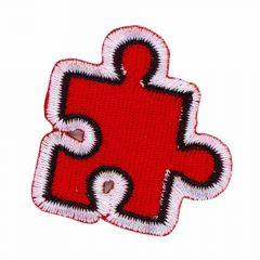 Iron-on patches Puzzle piece red - 5pcs