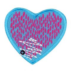 Iron-on patches heart jeans purple-jeans  - 5pcs