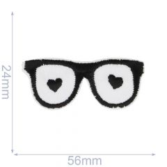 Iron-on patches Glasses hearts - 5pcs