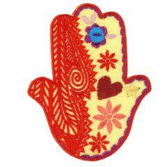 Iron-on patches Hand of Fatima Orange - 5pcs