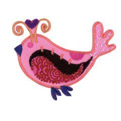 Iron-on patches Bird pink - 5pcs