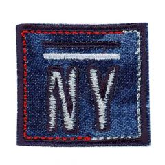 Iron-on patches NY square red-jeans - 5pcs