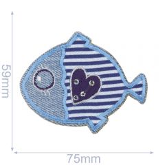 HKM Iron-on patch fish - 5pcs