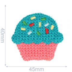 Patch knitted cupcake 45x40mm - 5pcs