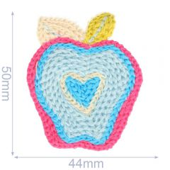Patch knitted apple 44x50mm - 5pcs