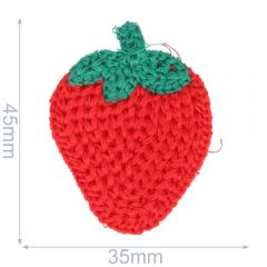 Patch knitted strawberry 35x45mm - 5pcs