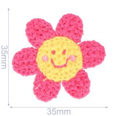 Patch knitted flower 35x35mm - 5pcs