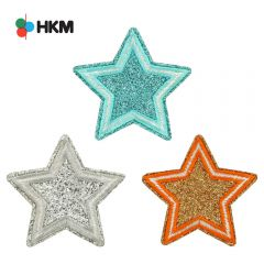 HKM Iron-on patch star glitter - 3pcs