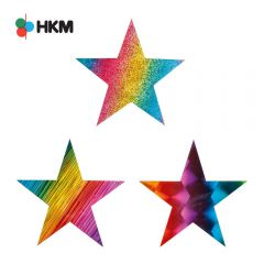 HKM Iron-on patch star rainbow - 3pcs